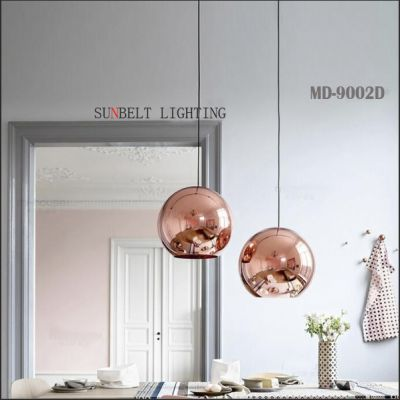 Electroplating gold/copper glass pendant lamp