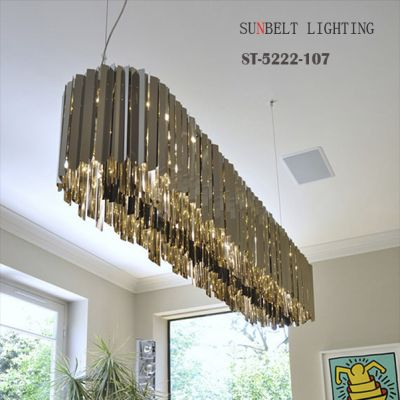 Long shape Stainless steel pendant lamp size D107cm